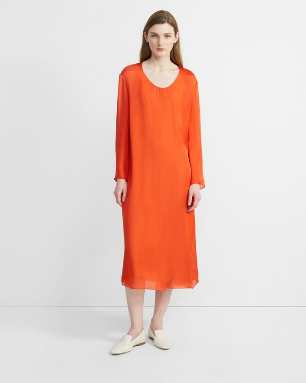 띠어리 Theory Silk Charmeuse Fluid Midi Dress,FIRE OPAL