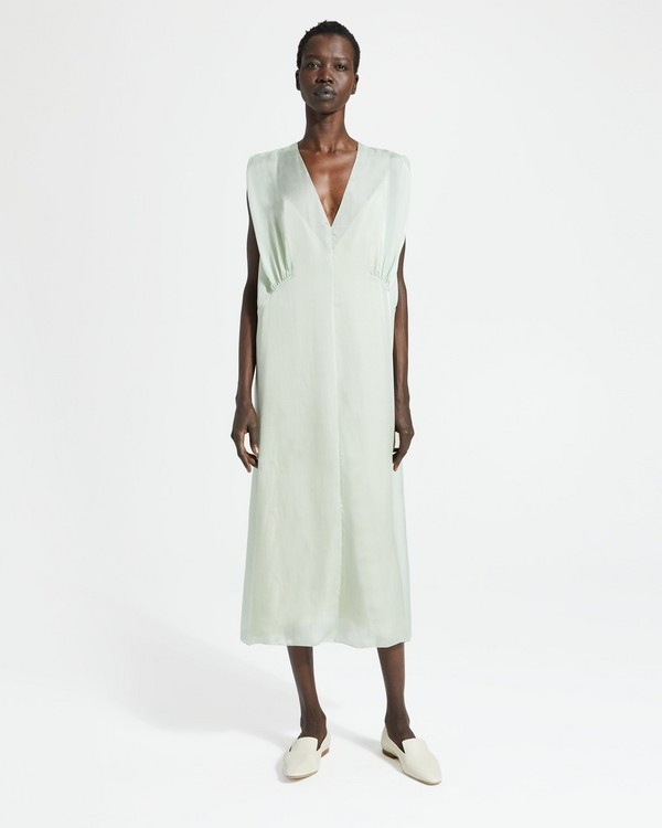 띠어리 Theory Silk Charmeuse Bodice Drape Dress,OPAL GREEN