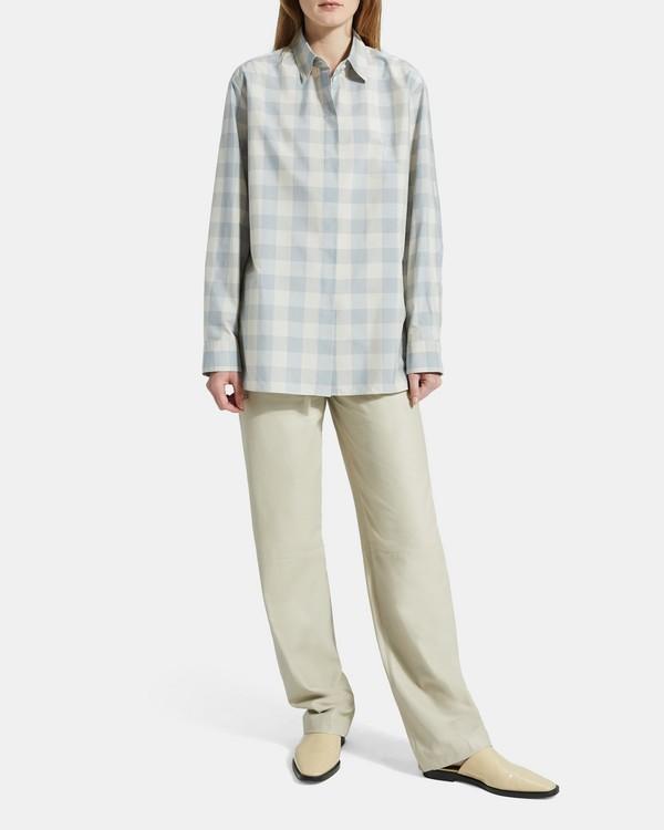 띠어리 체크 클래식 보이프렌드핏 셔츠 Theory Check Classic Menswear Shirt,BLUE STREAM MULTI