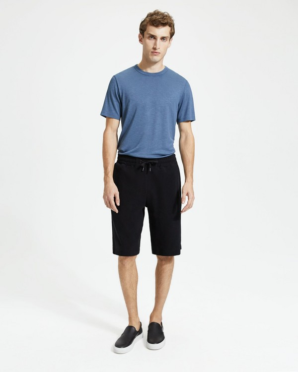 띠어리  반바지 스웻쇼츠 Theory Cotton Terry Relaxed Sweatshort,BLACK