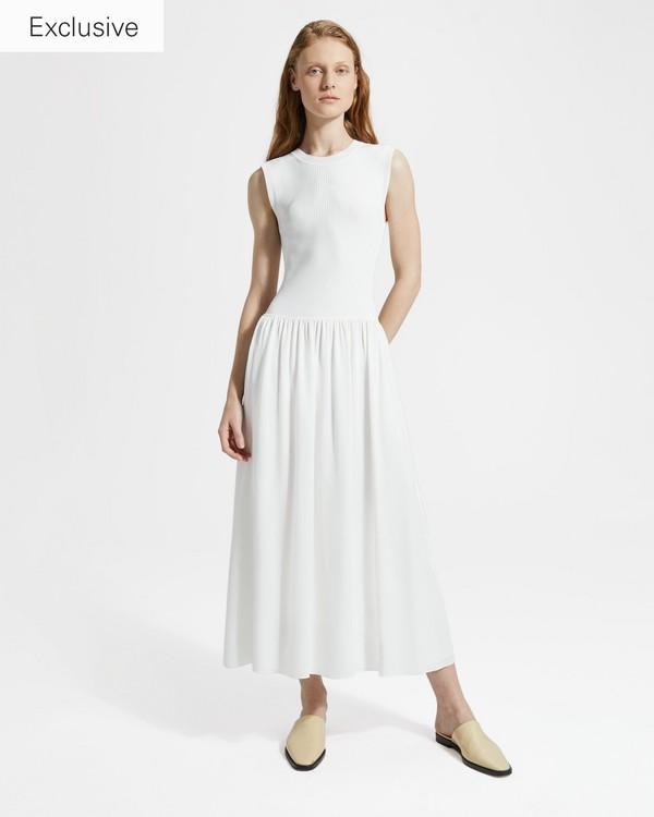 띠어리 Theory Silk Combo Ribbed-Waist Dress