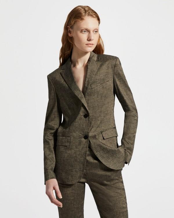 띠어리 텍스쳐드 리넨 클래식 블레이저 Theory Textured Linen Classic Blazer,BEIGE CLAY MULTI