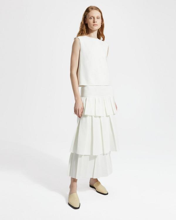 띠어리 Theory Pure Linen Tier Ruffle Skirt,WHITE