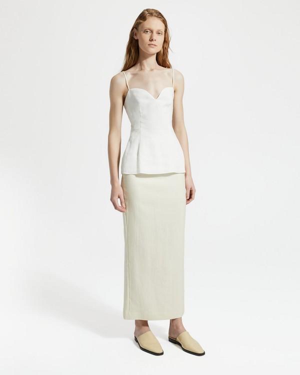 띠어리 Theory Pure Linen Sweetheart Top,WHITE