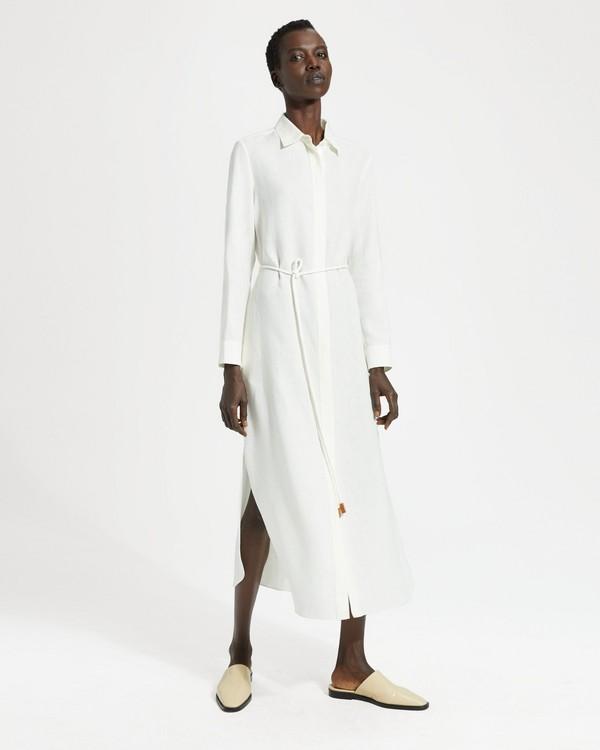 띠어리 Theory Pure Linen Belted Shirtdress,WHITE