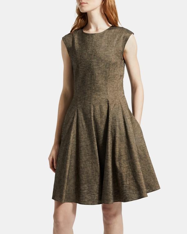 띠어리 텍스쳐드 리넨 페플럼 원피스 Theory Textured Linen Peplum Dress,BEIGE CLAY MULTI
