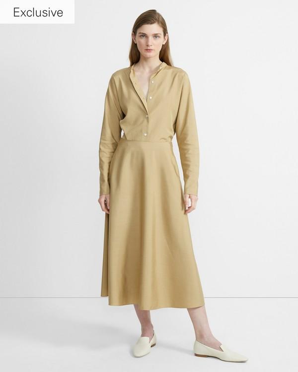 띠어리 Theory Sanded Silk Volume Skirt,BEIGE CLAY