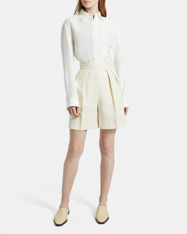 띠어리 럭스 리넨 플리츠 반바지 - 2 컬러 Theory Luxe Linen Pleated Short