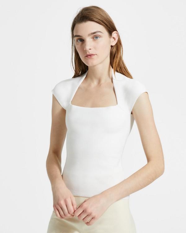띠어리 Theory Merino Wool-Silk Knit Short-Sleeve Tee