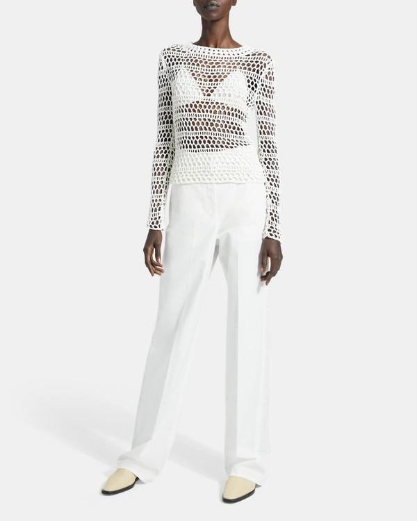 띠어리 Theory Crochet Long-Sleeve Tee,IVORY