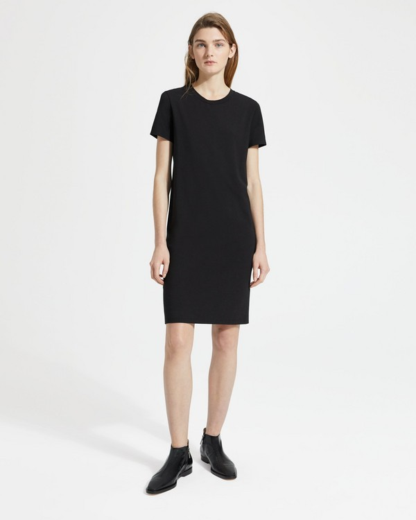 띠어리 Theory Cotton-Modal Continuous Tee Dress,BLACK