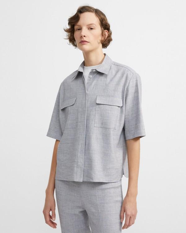 띠어리 '텍스쳐드 굿 린넨' 반팔 클래식 셔츠 - 블루 멜란지 Theory Textured Good Linen Short-Sleeve Classic Shirt,BLUET MELANGE