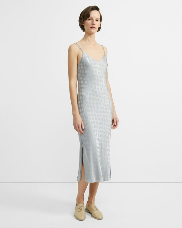 띠어리 원피스 Theory Brushed Dot Jacquard Double-Strap Dress,GREY CLOUD