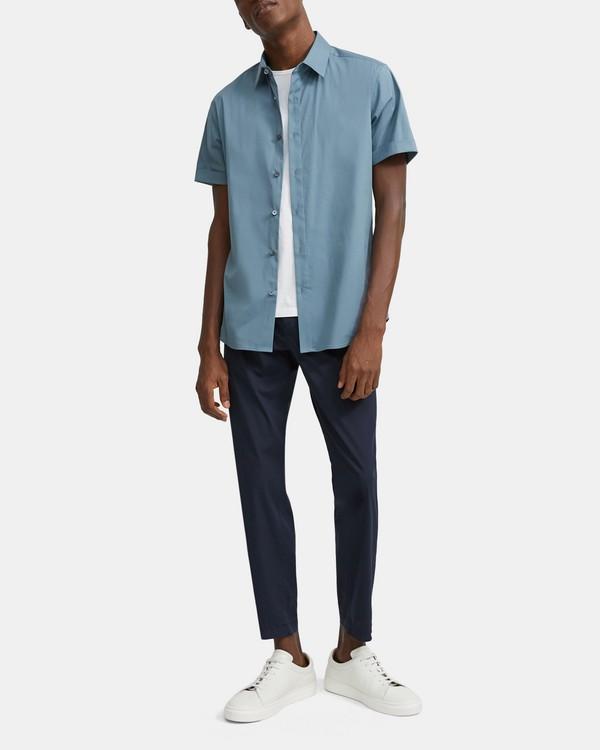 띠어리 코튼 반팔 셔츠 Theory Stretch Cotton Short-Sleeve Shirt,ALOE