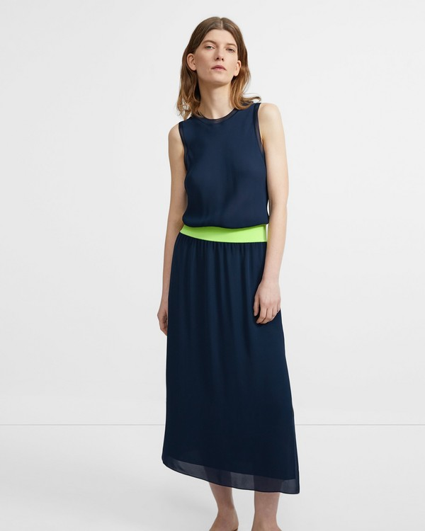 띠어리 Theory Midi Dress in Neon Silk Combo,NAVY/NEON YELLOW
