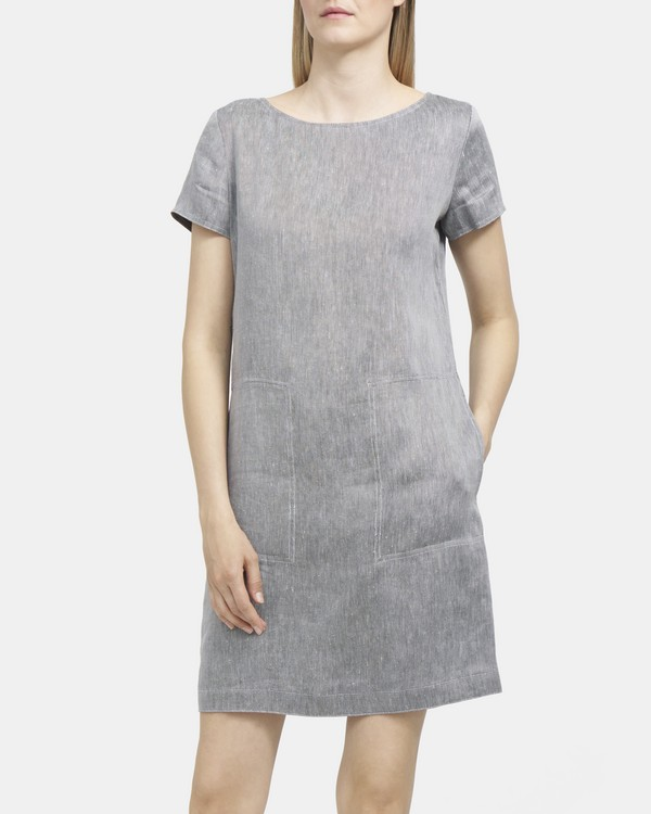 띠어리 린넨 원피스 Theory Linen Twill Structured Dress,BLACK/WHITE