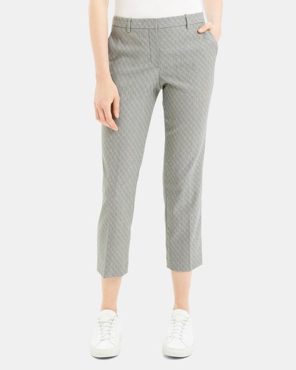 띠어리 Theory Optical Wool Cropped Tailored Trouser,BLACK/IVORY