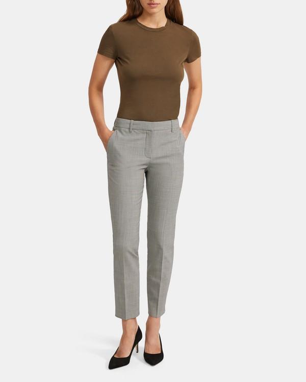 띠어리 Theory Houndstooth Good Wool Slim Crop Pant,BLACK MULTI