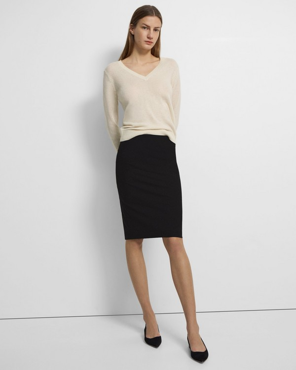 띠어리 펜슬 스커트 Theory Good Wool Skinny Pencil Skirt,BLACK