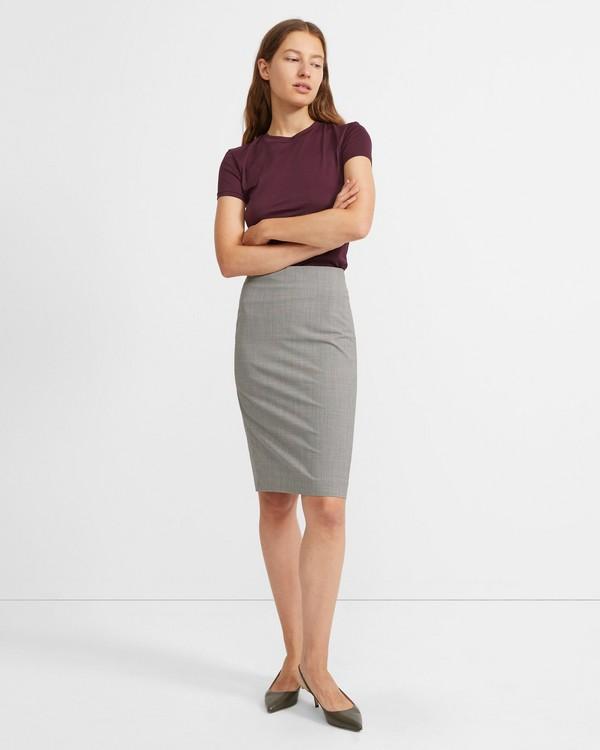 띠어리 Theory Houndstooth Good Wool Skinny Pencil Skirt,BLACK MULTI