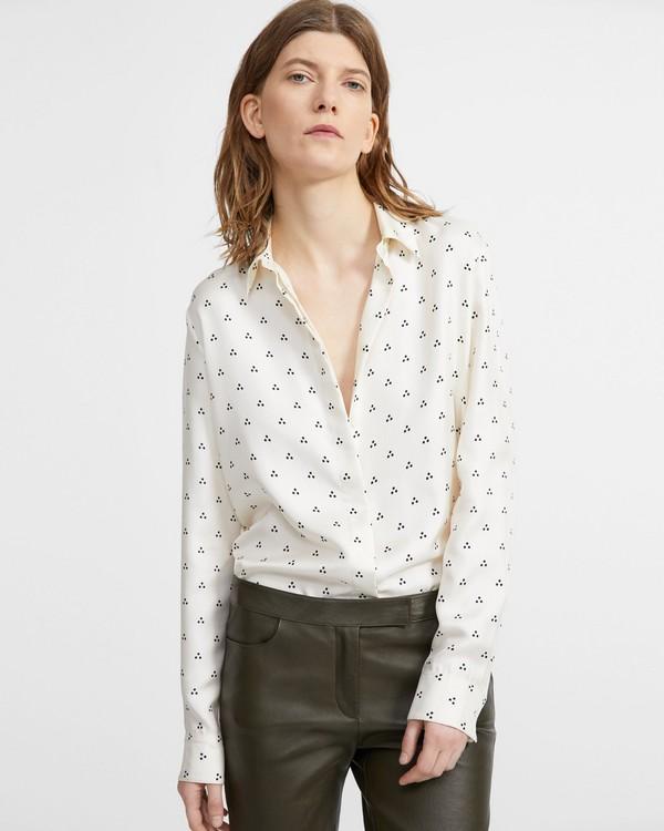 띠어리 Theory Vintage Dot Classic Straight Shirt,PARCHMENT MULTI
