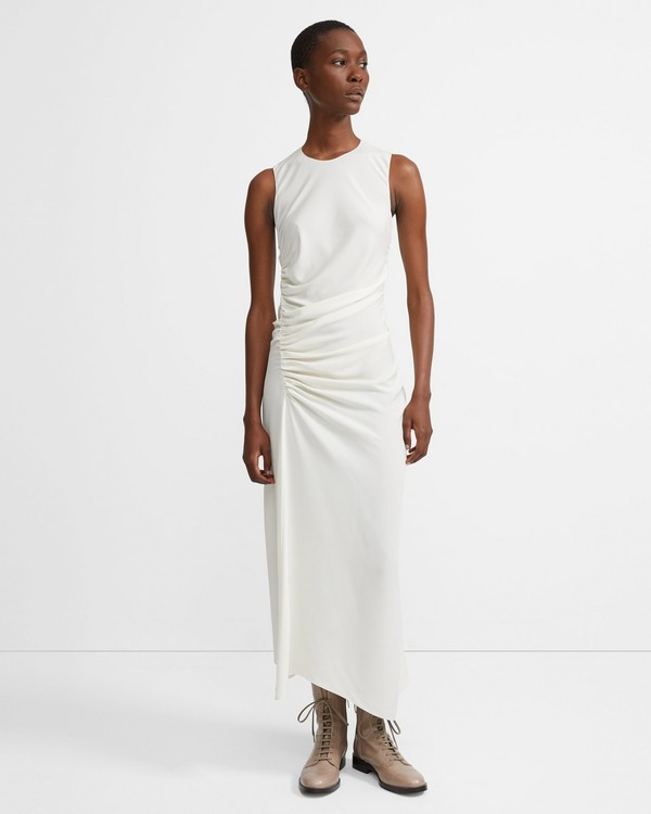 띠어리 Theory Twisted Dress in Stretch Silk,IVORY