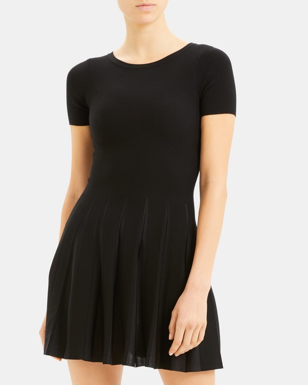 띠어리 원피스 Theory Pleated Tee Dress,BLACK