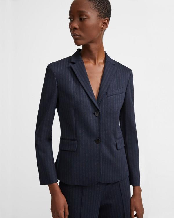 띠어리 Theory Striped Knit Classic Shrunken Jacket,MULTI