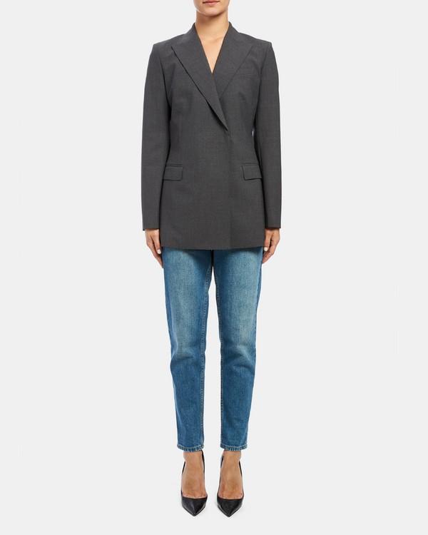 띠어리 Theory Good Wool Buttonless Double-Breasted Tailored Jacket,CHARCOAL MELANGE