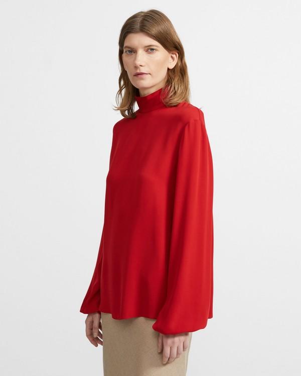 띠어리 실크 모크넥 탑 - 3 컬러 Theory Mock Neck Top in Silk