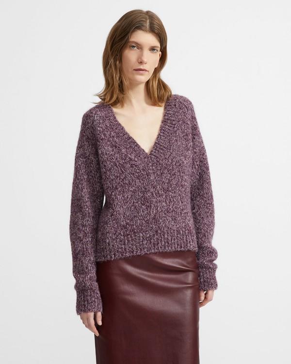 띠어리 알파카 브이넥 스웨터 - 멀베리 시슬 Theory Alpaca Marled V-Neck Sweater, MULBERRY/THISTLE
