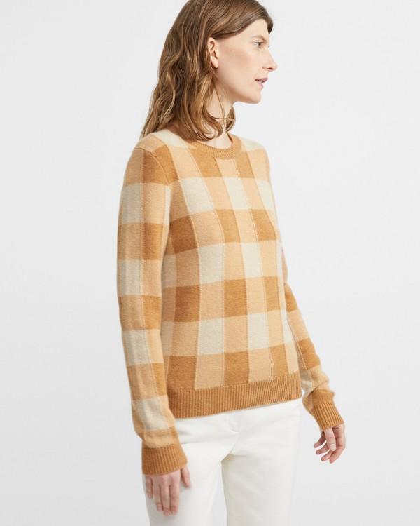 띠어리 100% 캐시미어 플레이드 스웨터 Theory Cashmere Plaid Crewneck Sweater,PALE CAMEL MULTI