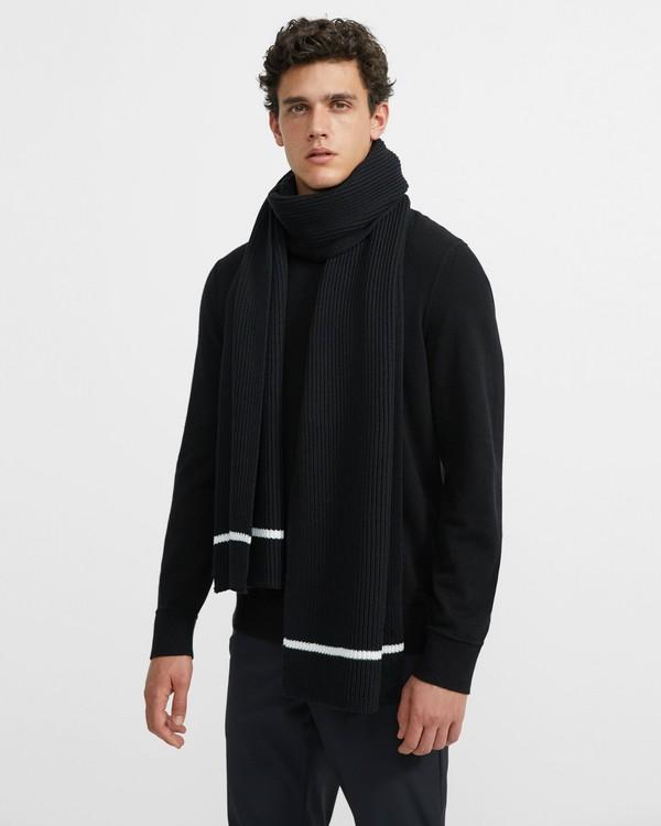 띠어리 맨 메리노울 머플러 Theory Tipped Scarf in Merino Wool,BLACK MULTI