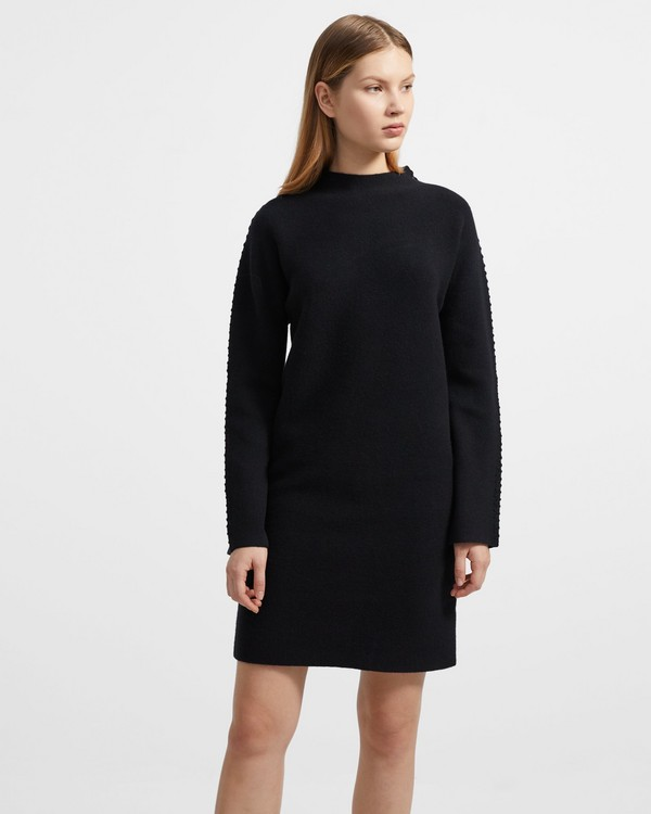 띠어리 원피스 Theory Kimono Turtleneck Dress in Felted Wool-Cashmere,BLACK