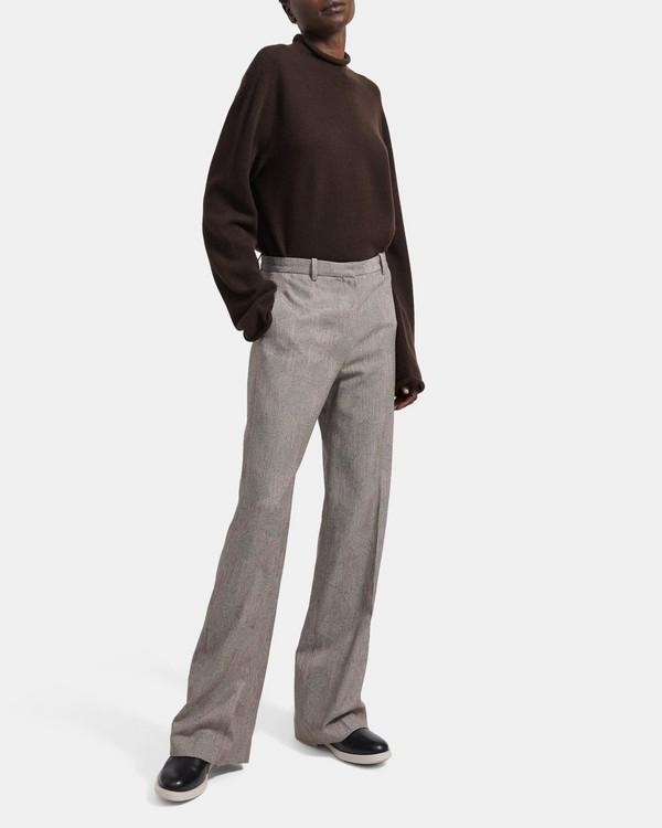 띠어리 Theory Fluid Wool Jacquard Wide Trouser,ECRU/BROWN