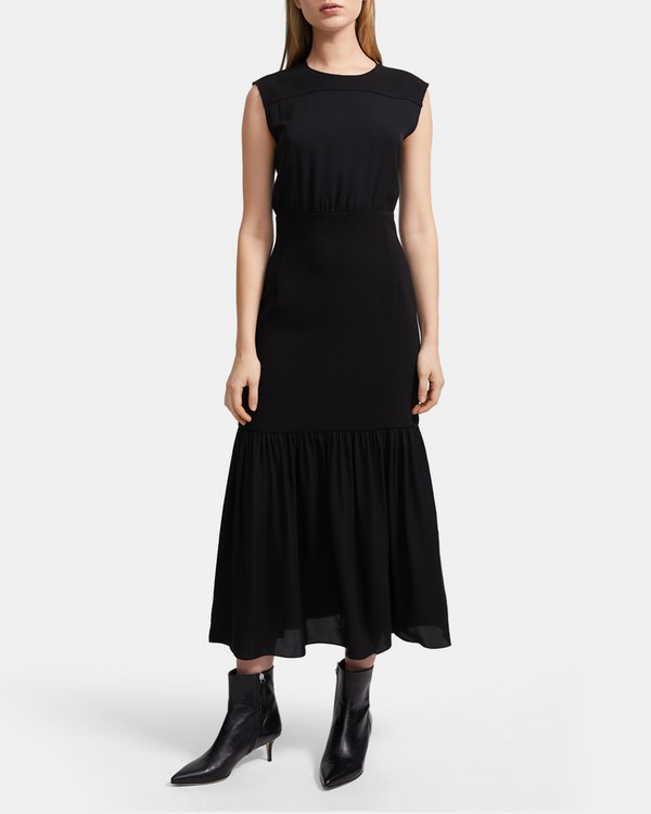 띠어리 실크 맥시 원피스 Theory Silk Blouson Maxi Dress,BLACK