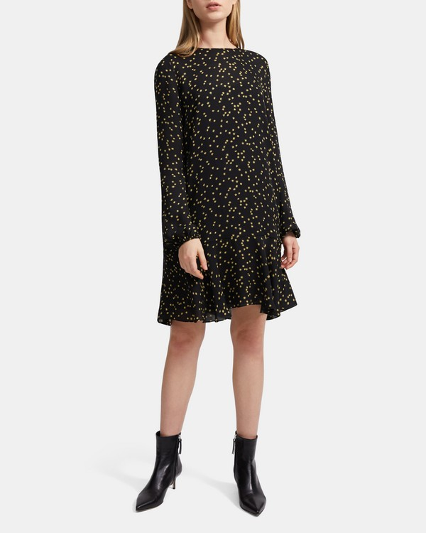 띠어리 실크 스타 프린트 원피스 Theory Silk Star Print Flared Dress,BLACK MULTI