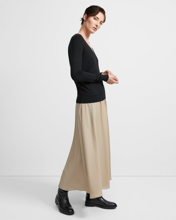 띠어리 Theory Silk Ribbed Waistband Volume Skirt,TAUPE