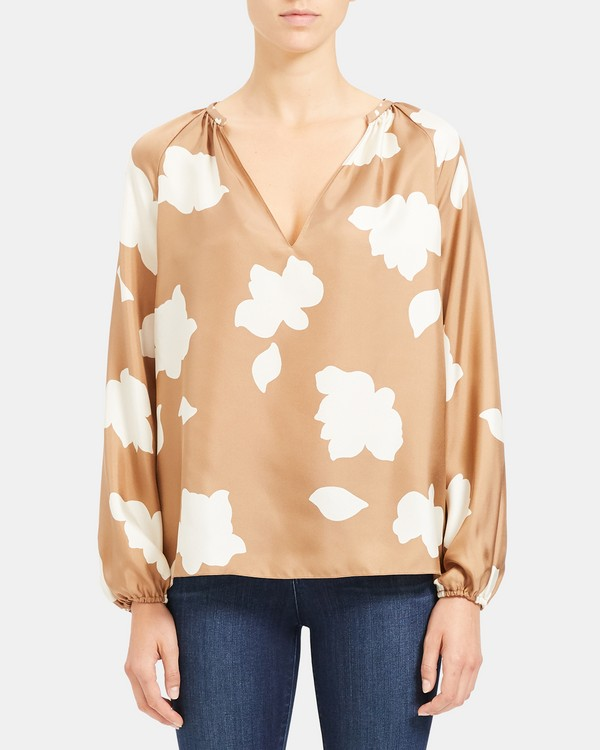 띠어리 Theory Silk Petal Print Open V Top