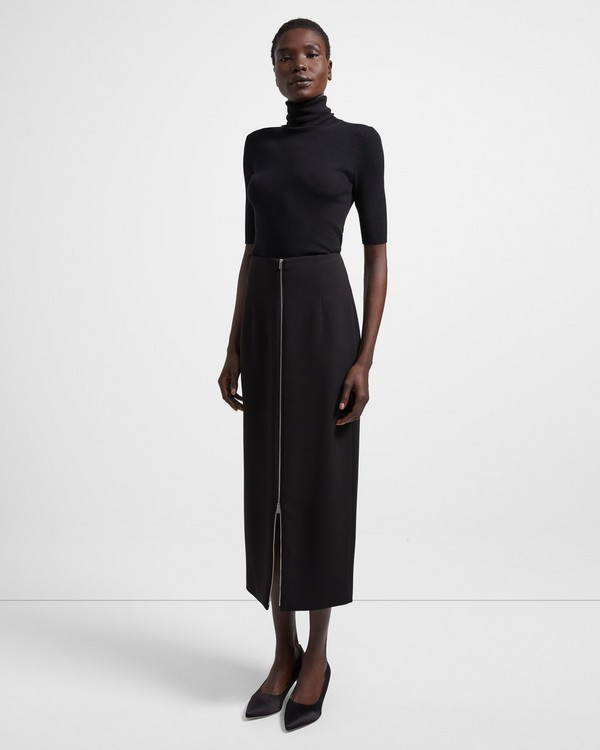 띠어리 Theory Crepe High-Waist Zip Skirt,BLACK