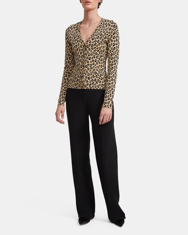 띠어리 Theory Leopard Knit Cardigan,TAN KHAKI/BLACK