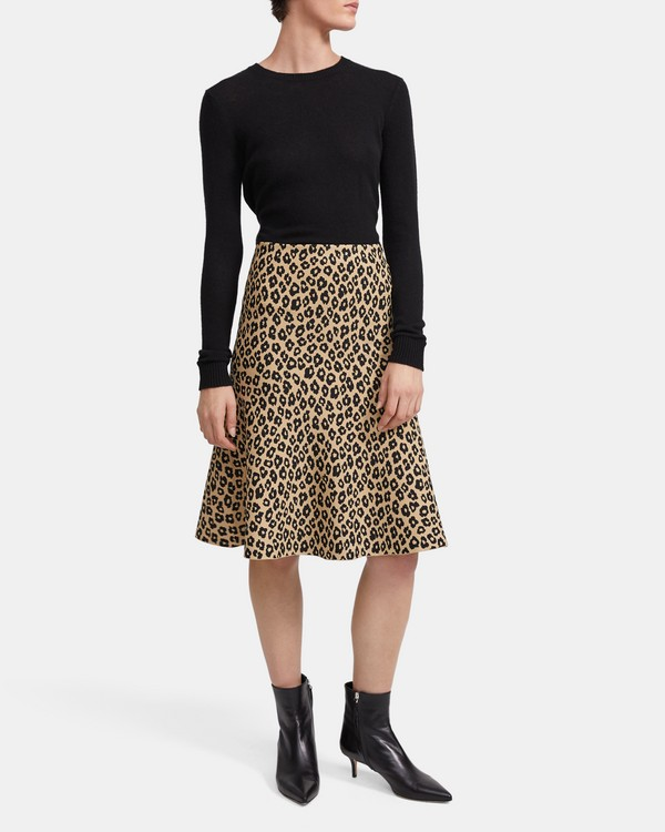 띠어리 Theory Leopard Knit Skirt,TAN KHAKI/BLACK