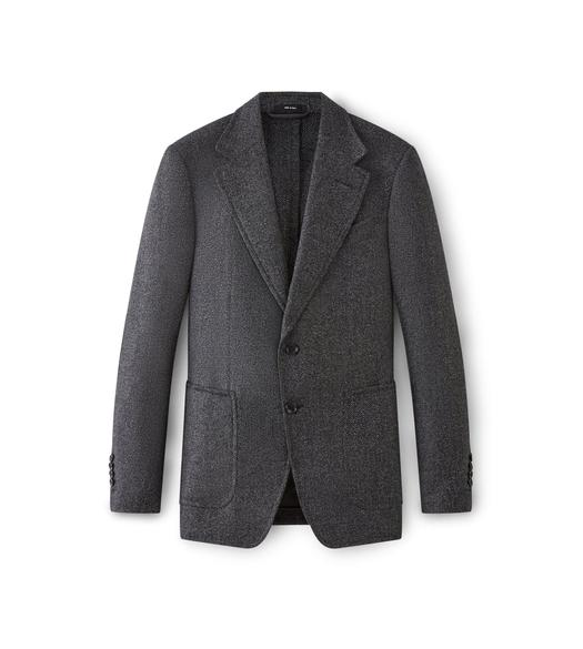 CHARCOAL SHELTON JACKET WITH SUEDE PATCHES