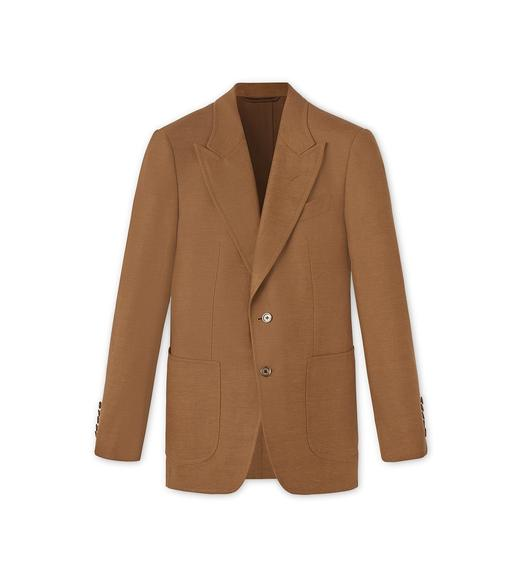 WOOL LINEN AND MOHAIR CANVAS SHELTON LIGHT CONSTRUCTION JACKET
