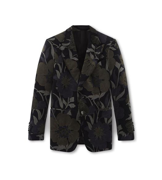 FLORAL VELVET SHELTON PEAK LAPEL JACKET