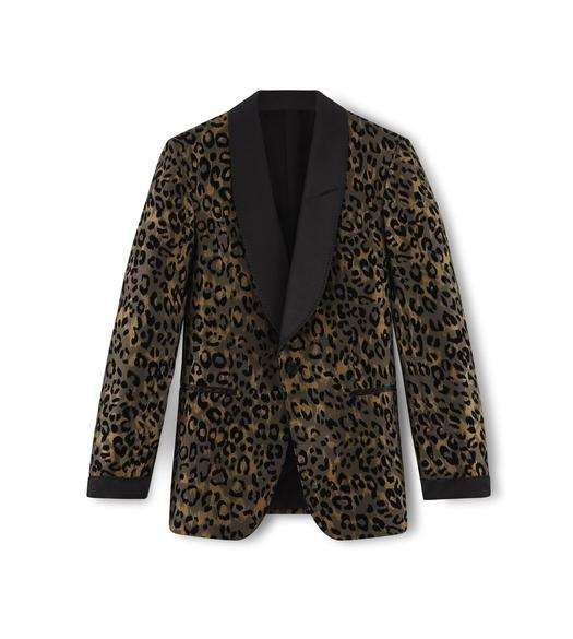 LEOPARD SHELTON SHAWL COLLAR EVENING JACKET