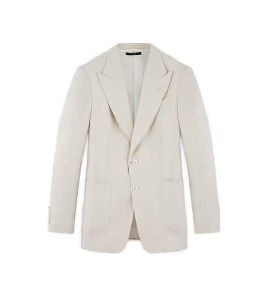 IVORY WOOL LINEN SHELTON JACKET