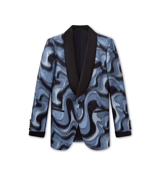 JACQUARD SWIRL SHELTON SHAWL COCKTAIL JACKET