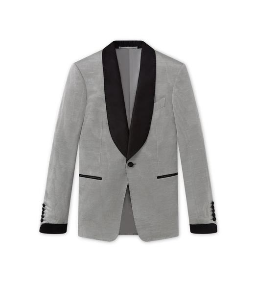 SILVER MOIRE' SHELTON SHAWL COCKTAIL JACKET