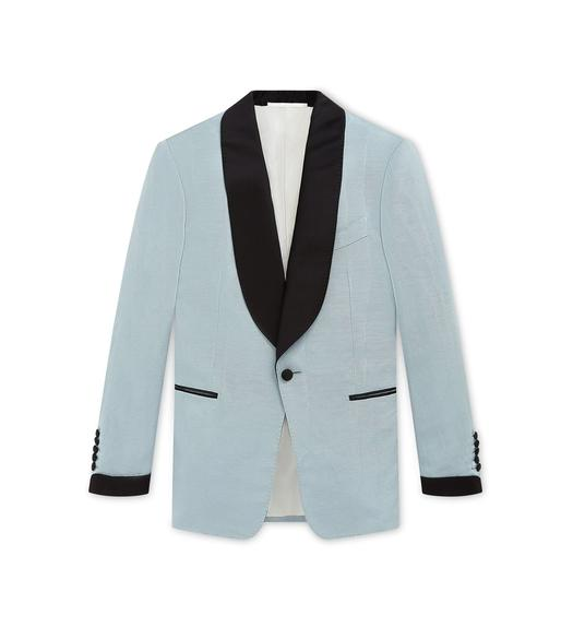 BLUE MOIRE' SHELTON SHAWL COCKTAIL JACKET